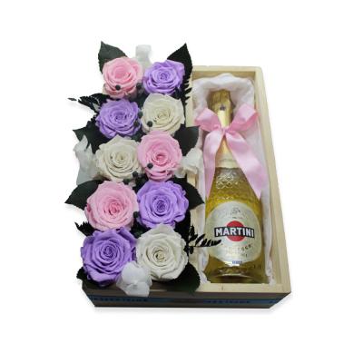 Pack 10 rosas preservadas + Martini Asti Vintage
